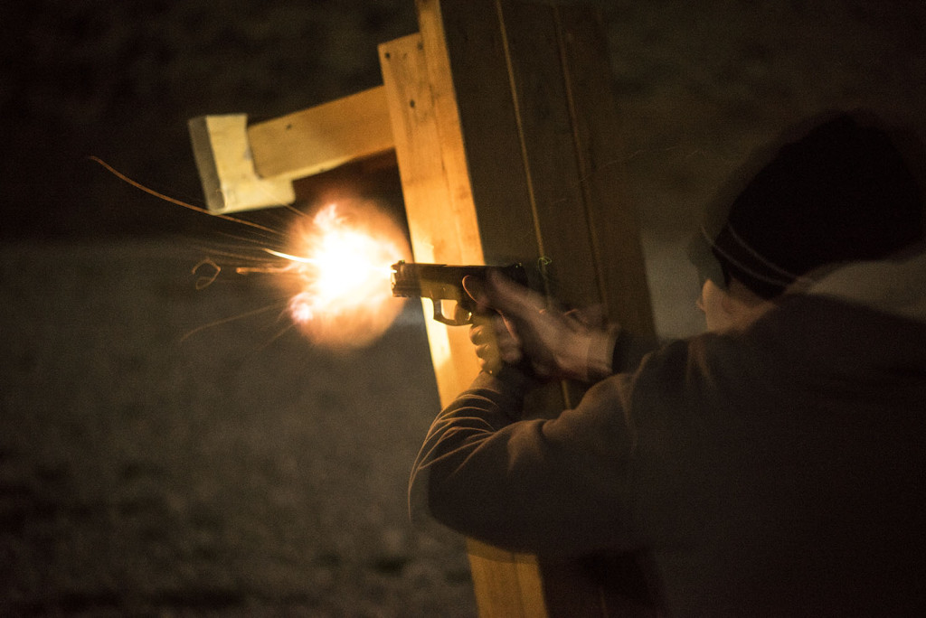 I think someone who just picks up a gun and starts carrying without ever bothering to learn when and how they may legally use said firearm is morally bankrupt. My friend Brett, seen here training at night, is not morally bankrupt.