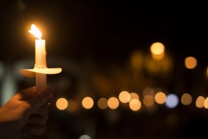 A candlelight vigil for sexual assault survivors at the University of Arizona in 2015.